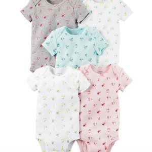 Carters Baby Girl 5 pack floral bodysuits